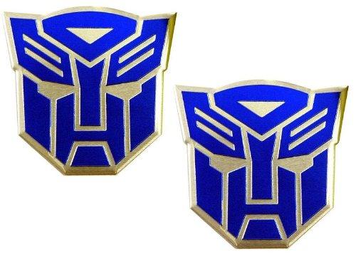 Aluminum Transformer - Transformers 2 X Autobots Aluminum LARGE Emblems (Pair) in Blue
