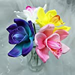 Lily-Garden-Artificial-Flowers-Real-Touch-Orchid-Set-of-10-Purple