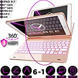 iPad Keyboard Case for iPad 2018 (6th Gen) - iPad 2017 (5th Gen) - iPad Pro 9.7 - iPad Air 2 & 1 - Thin & Light - 360 Rotatable - Wireless/BT - Backlit 10 Color - iPad Case with Keyboard (Rose Gold)