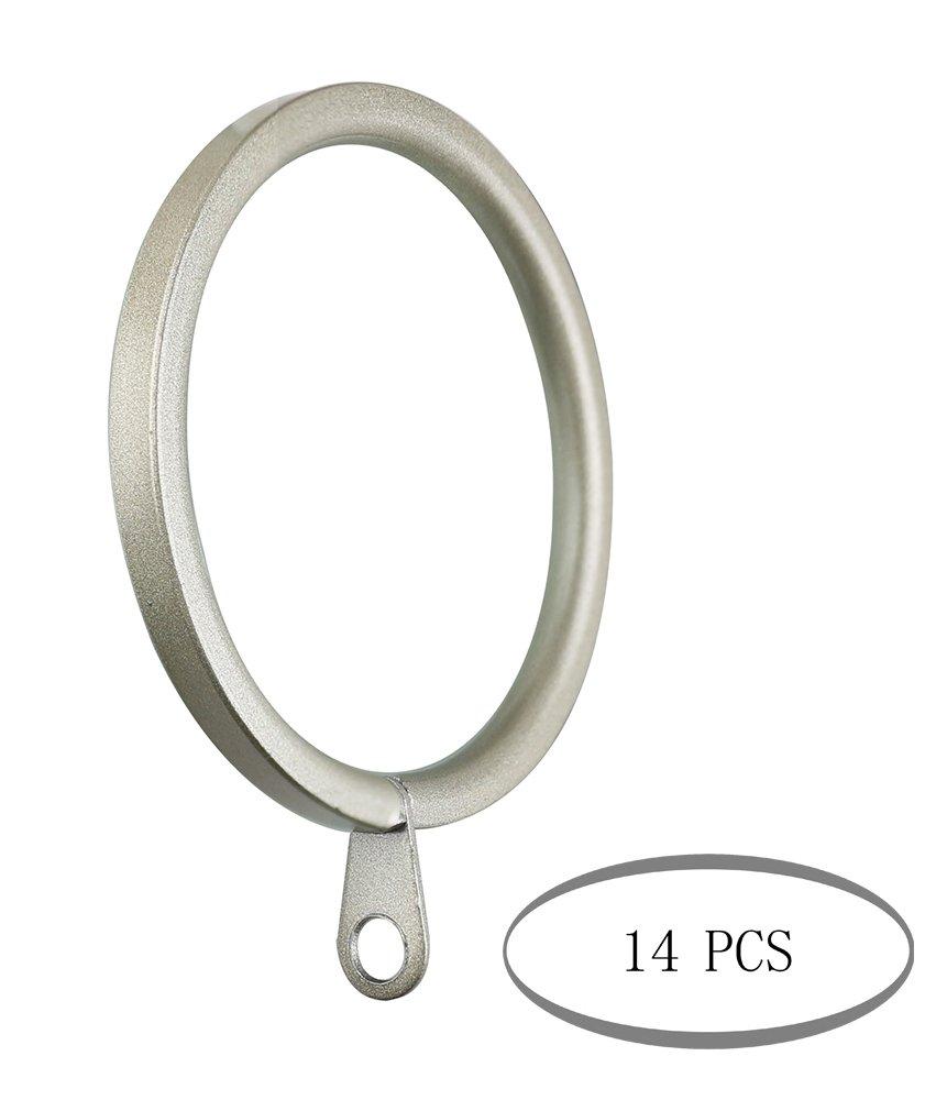 Meriville 14 pcs Gold 2-Inch Inner Diameter Metal Flat Curtain Rings with Eyelets