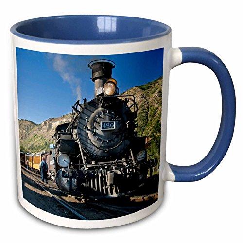 Railroad Real Photo Train (3dRose 88941_6 Durango and Silverton Narrow Gauge Railroad, Trains-Us06 Lkl0010-Lee Khoper Two Tone Blue Mug 11 oz White)