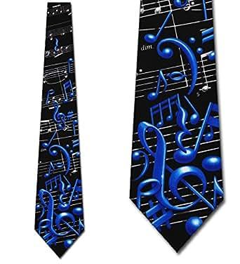 Men's Black & Blue Musical Notes Music Three Rooker Necktie Tie Neckwear
