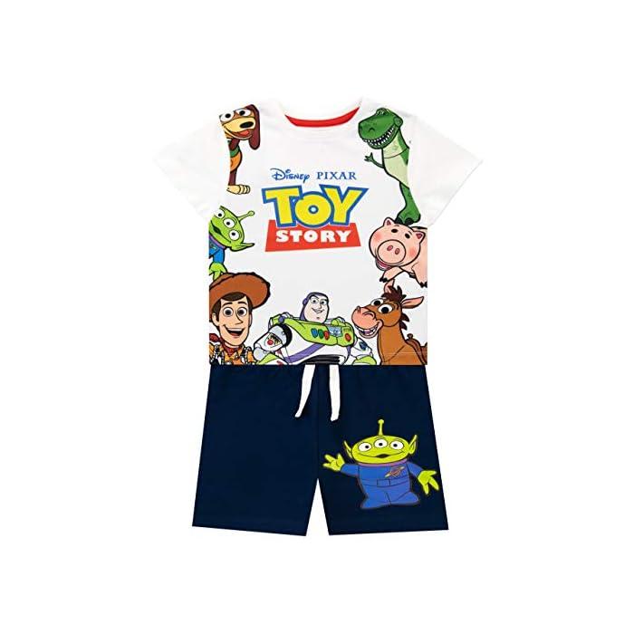 516nYicVE6L Conjunto para niños de Toy Story de Disney. ¡Viaja hacia el infinito y más allá con este conjunto de Toy Story que trae a los clásicos personajes de la caja de juguetes de Andy! Frente: 100% Poliéster Resto: 100% Algodón