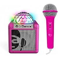 iDance CUBESING100PK - Altavoz Karaoke Infantil con micrófono y Sistema de Luces, Rosa