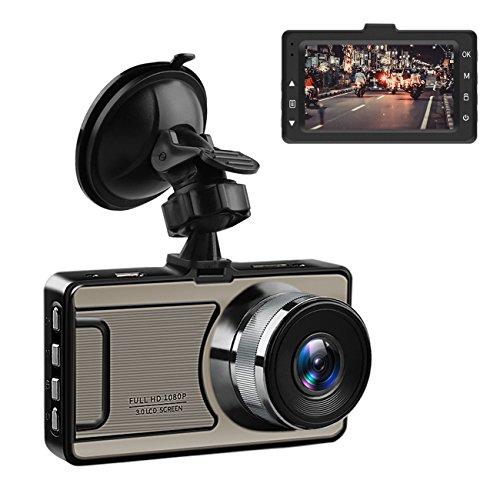 Favoto Dash Cam Full HD 1080P 12 Megapixel Camera 3'' Large LCD Screen 170° Wide Angle Lens Car Camera Recorder with G-Sensor WDR Night Vision Loop Recording Motion Sensor by Favoto