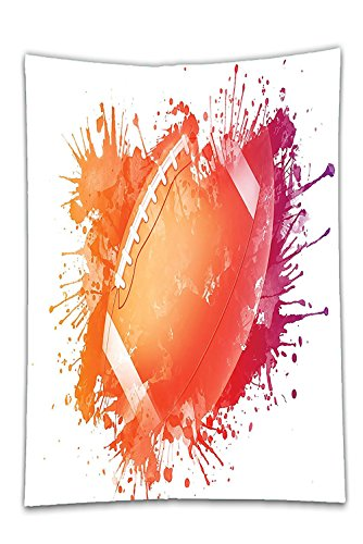 Safari Magnetic Activity Table (Interestlee Satin drill Tablecloth?Sports Decor Rugby Ball in Digital Watercolors Splash Recreational Leisure Sports Activity Run Design Orange Red Dining Room Kitchen Rectangular Table Cover Home Dec)