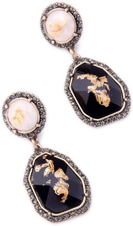 Qinghengyong 1 par de Cristal de la Gema Pendientes Pendientes de Piedra Irregular Oval cuelgan cuelgan Gota Muchachas de Las Mujeres de la joyería del oído