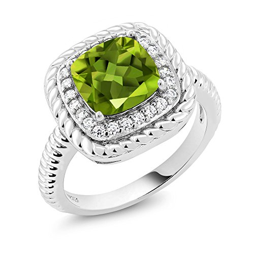 Gem Stone King 925 Sterling Silver Green Peridot Gemstone Birthstone Engagement Ring 2.45 Ctw Cushion Cut (Size 9)