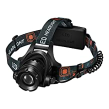 Pictek Flashlight LED Headlamps, Super Bright Waterproof 3 Modes Outdoor Rechargeable Sport Flashlight with Cree T6 Chip and Adjustable Elastic Headstrap for Camping/Hiking/Reading