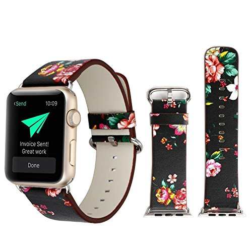 Winso Floral Band for Apple Watch 38mm, Flower Pattern Printed Leather Replacement Strap for iWatch Series 3/2/1 (Flower,Black-Red, 38mm) (Black Girl Bands)