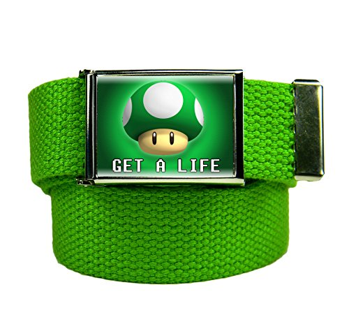 Get A Life Flip Top Men's Belt Buckle with Canvas Web Belt X-Large Kelly Green -