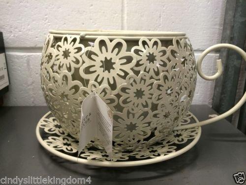 Vintage Look Teacup Saucer Planter Plant Pot Holder Table Decor