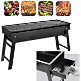 "bestlovealex Barbecue Charcoal Grill, Stainless Steel, Folding Charcoal Grill, Portable BBQ Grill Tool for Outdoor Camping Hiking Cooking Picnics - 23.6"" x 8.07"" x 13"""