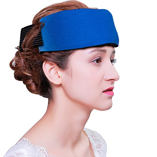 Migraine Relief Gel Ice Pack with Adjustable Strap for Hot Cold Therapy Reusable Head Wrap with Soft Fabric Backing for Headache, Elbow, Ankle, Knee Pain and Sports Injuries (Standard Size 9.8* 4inch)