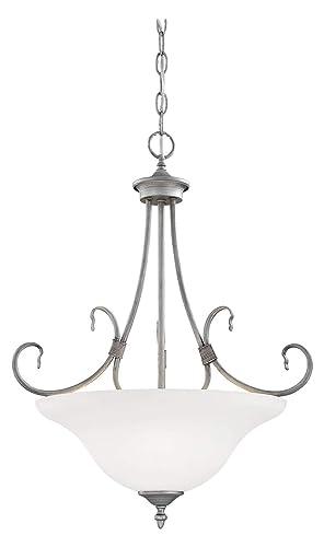 Rubbed Silver Traditional 3 Light Pendant - - Amazon com