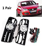 Autvivid Front Bumper Grille Driving Fog Light Set 6000K With Harness for 1999-2004 VW Golf GTI / TDI / MK4