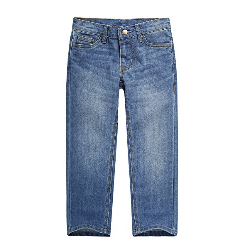 UNACOO Boys Denim Jeans Pants with Regular Fit Stretch Straight Leg and 5 Pockets (Light Blue, XL(11-12T))