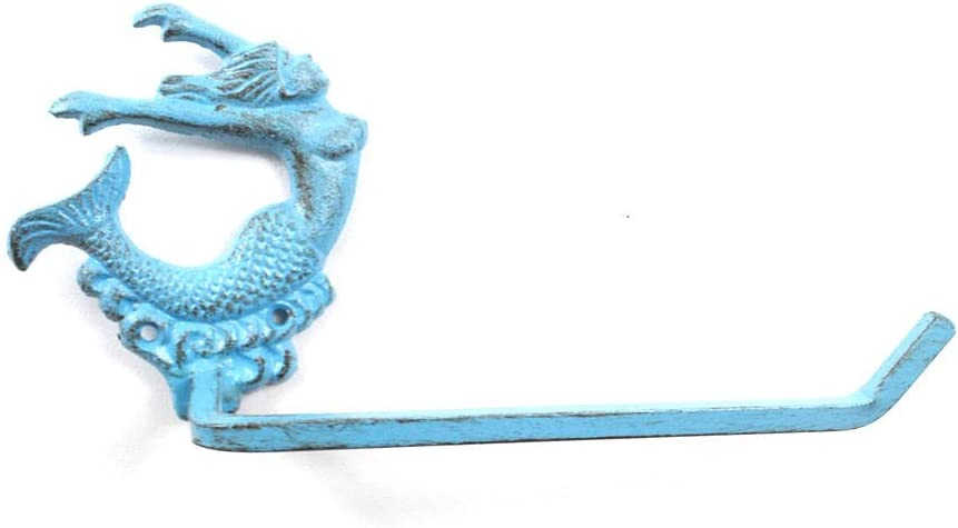 Handcrafted Nautical Decor Rustic Light Blue Cast Iron Decorative Arching Mermaid Toilet Paper Holder 11
