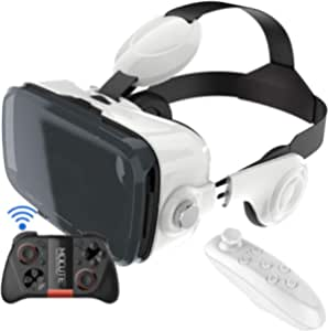 VR Headset, 3D Glasses HD Virtual Reality Headset with Bluetooth Remote Control&Gamepad 360°Surround Stereo Sound Resolution 1080 120 ° FOV for Videos/Movies/Games,for 4.7-6.6 Inch Phone ,White,B