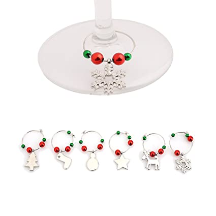 hs wine charms christmas wine glass marker rings bar tools set of 6 silvery - Christmas Wine Charms