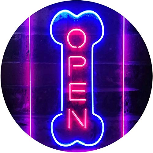 ADVPRO Open Dog Bone Grooming Pet Shop Display Dual Color LED Neon Sign Blue & Red 12 x 16 Inches st6s34-i2494-br