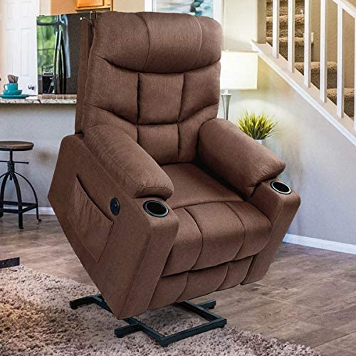 Esright Power Lift Chair Electric Recliner for Elderly Heated Vibration Fabric Sofa Motorized Living Room Chair with 2 Side Pockets and Cup Holders, USB Charge Port Remote Control, Brown