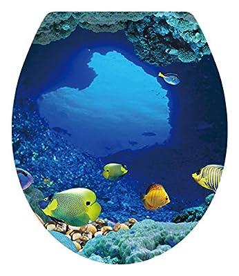 "Dnven (13""w X 15""h) Tropical Fish Undersea Ocean Under Water Bathroom Toilet Seat Lid Cover Decals Stickers"