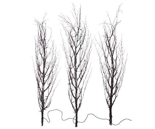 Set of 3 - 4 Foot Tall - Purple Light-Up Halloween Twig Trees
