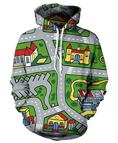 Men Hoodie Unisex Toy Car Mat Printed Pullovers Sweatshirt Tracksuit -