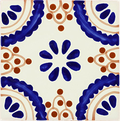 (Tierra y Fuego Box of 9-4¼ x 4¼ Madrid - Talavera Mexican Ceramic Tiles)