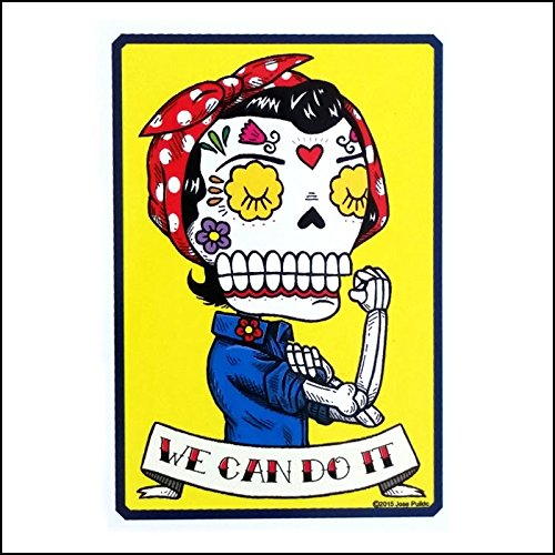 Rosie the Riveter Inspired Calavera Die Cut Vinyl Sticker Sugar Skull - Day of the Dead - Weather Proof Decal -