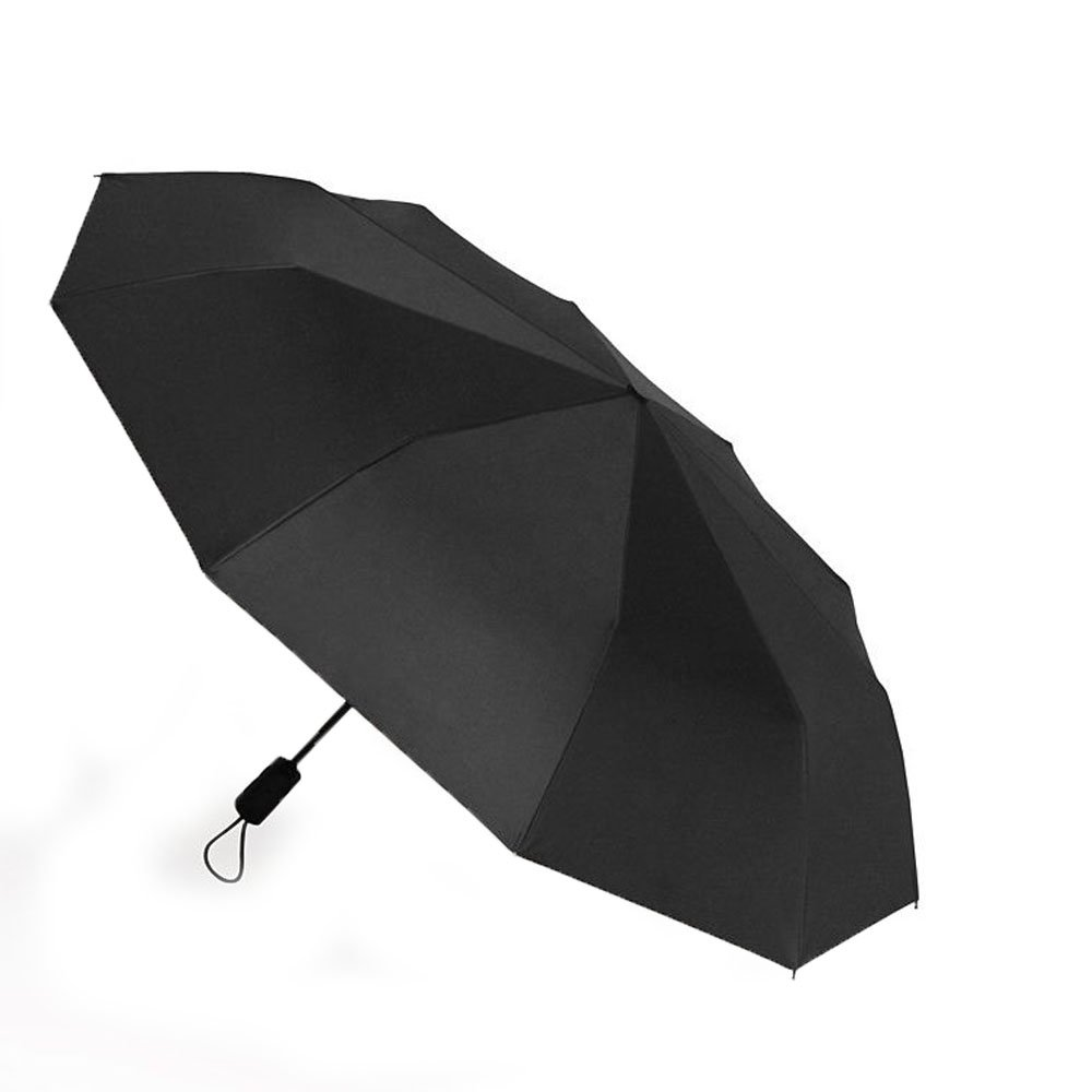 Exquisite wooden handle ten bones increase strong windproof automatic simple men's business three folding clear umbrella (black)