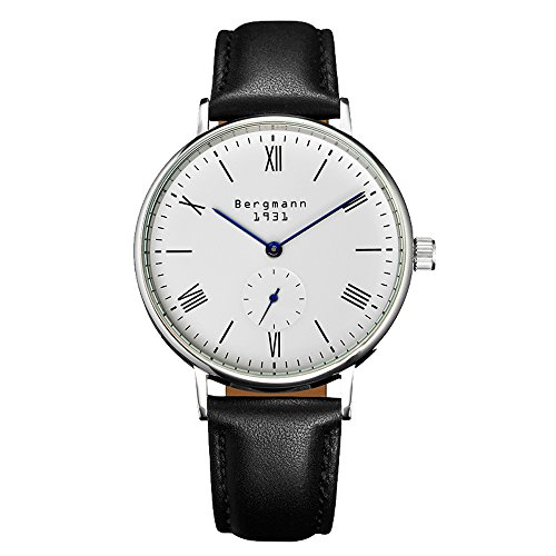 Bergmann Brand Vintage Watch Men Leather White Dial Small Second Slim Hand Roma Number Casual Watch 1931