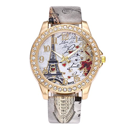BCDshop Womens Wrist Watch Vintage Paris Eiffel Tower Leather Band Crystal Quartz Dial Watch (Grey, Stainless Steel) (Dial Grey Time)