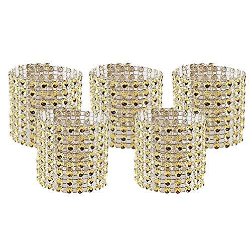 Dzty 50pcs Rhinestone Mesh Bling Napkin Rings for Wedding Decoration, Plastic Chair Sash Bows,Napkin Holder for DIY Party Birthday Banquet Supply ()