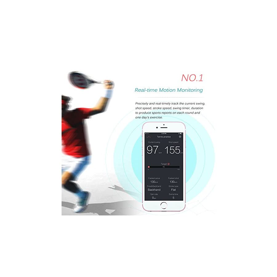 Lixada Wireless Smart Rechargeable BT4.0 Tennis Sensor Monitor Racket Sensor Motion Tracker Pedometer Watch for Pro and Amateur
