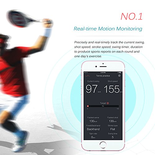 Lixada Wireless Smart Rechargeable BT4.0 Tennis Sensor Monitor Racket Sensor Motion Tracker Pedometer Watch for Pro and Amateur