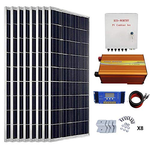 (ECO-WORTHY 800 Watts Solar Panel Kit: 8pcs 100W Poly Solar Panel + 3KW 24V-110V Off Grid Inverter + Combiner Box + 15ft Solar Cable + 60A PWM Charge Controller + Z Mounting Brackets)