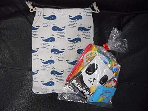 オシャレ巾着(クジラ)駄菓子 詰め合わせ ミニサイズ 巾着 麻 プレゼント 贈り物 ギフト