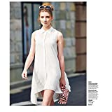 New collar asymmetric sleeveless shirt dress women , white , m