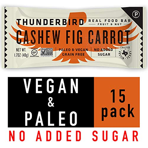 Thunderbird Paleo and Vegan Snacks - Real Food Energy Bars - Cashew Fig Carrot - Box of 15 - No Added Sugar, Grain and Gluten Free, Non-GMO