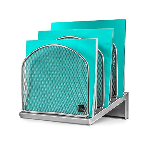 Inclined File Organizer by Mindspace, 5 Section Office Desktop Document Sorter | The Mesh Collection, Silver (Collection Desktop)