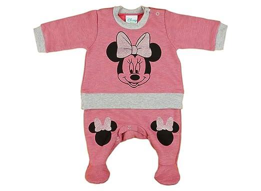 c97e018405 Mädchen Baby-Strampler mit Fuß gefüttert WARM dick von Minnie Mouse in  GRÖSSE 56, 62, 68, rosa od. grau, Baby-Schlafanzug LANG-ARM, Spiel-Anzug  für ...