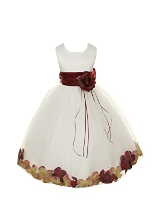 bf796842fe5 Satin Bodice Communion Flower Girl Pageant Petal Dress  Ivory Burgundy - 2
