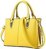 RS Casual Top Handle Handbag Purse Satchel Pu Leather Shoulder Bag Women TYellow