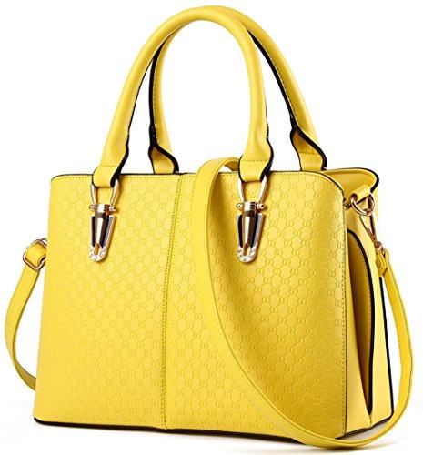 RS Casual Top Handle Handbag Purse Satchel Pu Leather Shoulder Bag Women TYellow by Rubysports Bags