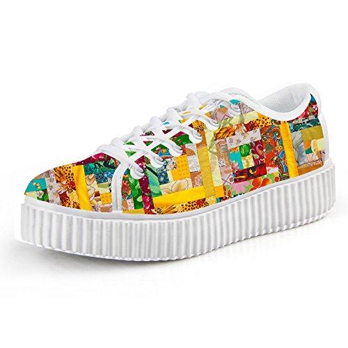 Flower7 Creepers Shoes Sneakers Women Platform Floral Skate IDEA Fashion HUGS 7fwCFF