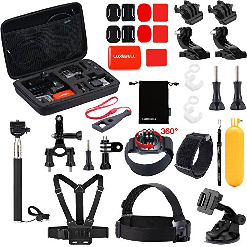 Luxebell Outdoor Sports Camera Accessories Kit for Gopro Hero 6 5 Session 4 3 2 Sjcam DBPOWER AKASO Apeman Xiaomi Yi