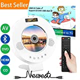 Jinhoo Portable DVD CD Player Wall Mountable Bluetooth DVD Player with HDMI Output Region Free, Built-in PAL NTSC System, Anti-Skip Protection LED Display USB Slot and Remote Connect with TV Projector