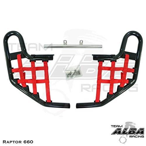 Yamaha Raptor 660 YFM 660R (2001-2005) Standard Nerf Bars Black w/Red - Team Red Net